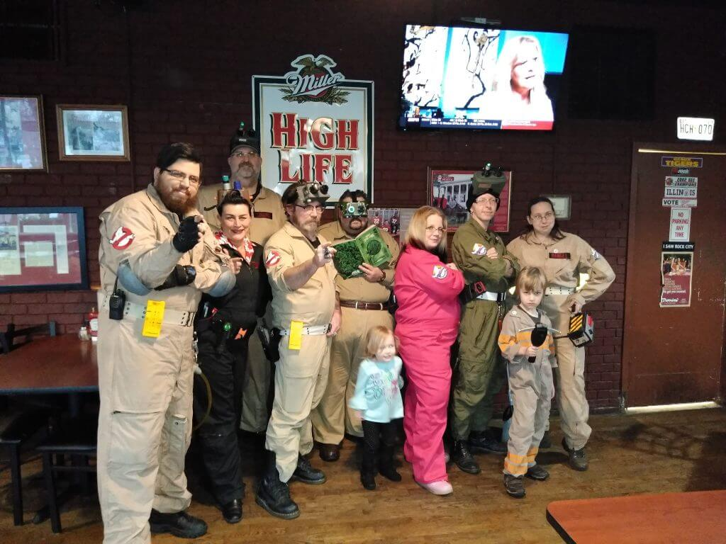 group shot of the North Georgia Ghostbusters, we had 8 members at the new members meet and greet event.